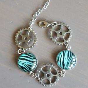 Glass Zebra steam punk gears bracelet